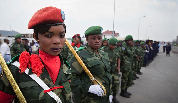 FARDC durant la parade le 8 mars 2013 à Goma MONUSCO:Sylvain Liechti