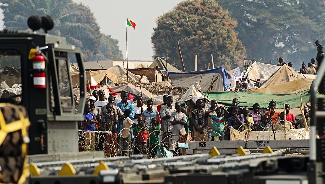 Bangui réfugiés U.S. Air Force janvier 2014