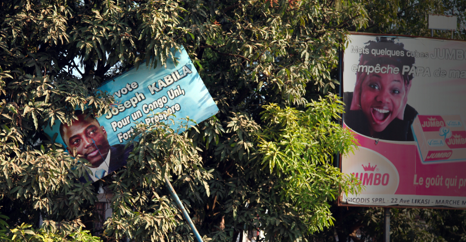 Affiche Kabila à Lubumbashi