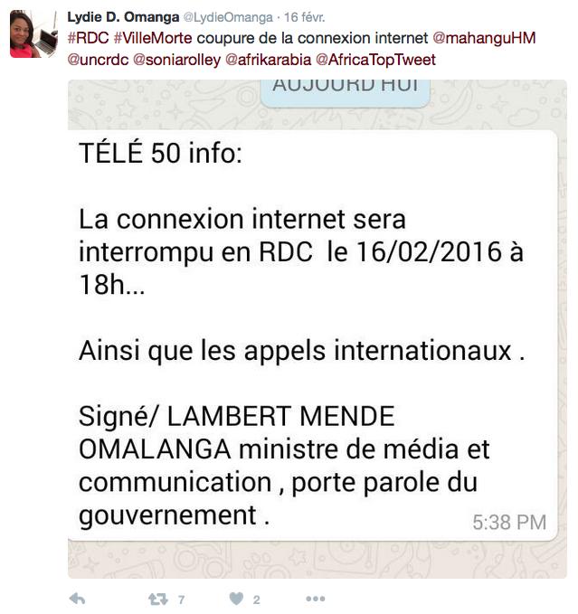 Tweet Lydie Omanga